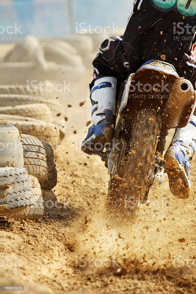 Motocross bike increase speed in track stock photo