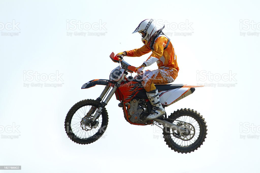 motocross biker in the air royalty-free stock photo