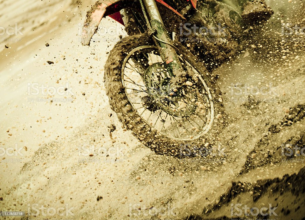 Motocross detail of splashing mud stock photo