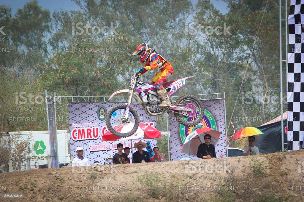 Motocross race in Thailand stock photo