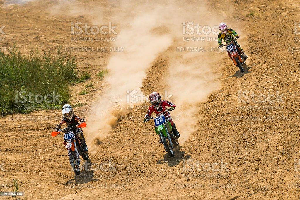Motocross racers  overcome a track  on the Ukrainian championshi stock photo