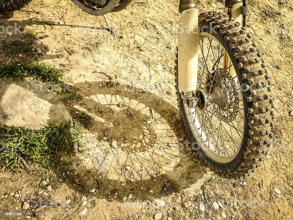 Motocross Tire on Muddy Ground royalty-free stock photo