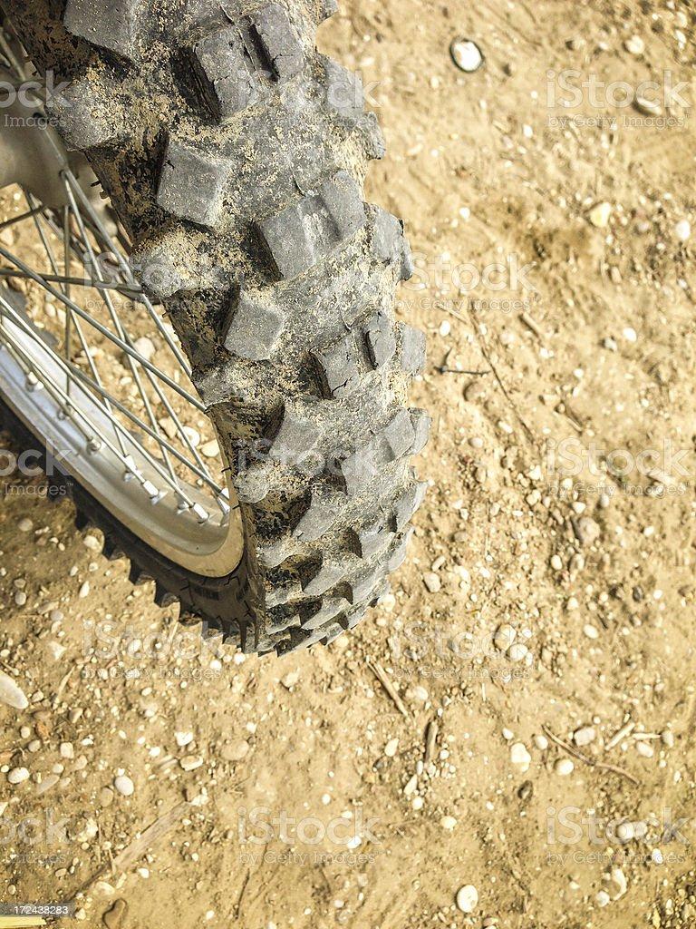 Motocross Tire Track on Muddy Ground royalty-free stock photo
