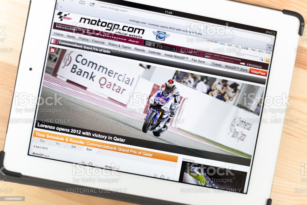 MotoGP on iPad royalty-free stock photo