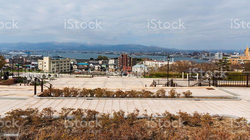 Motomachi park with Hakodate cityscape view stock photo