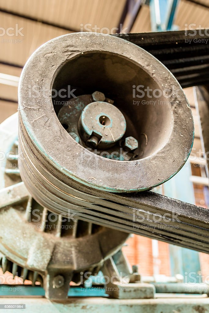Motor and rubber bands stock photo