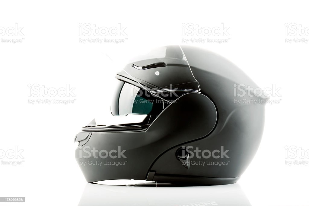 Motor bike helmet for road safety stock photo