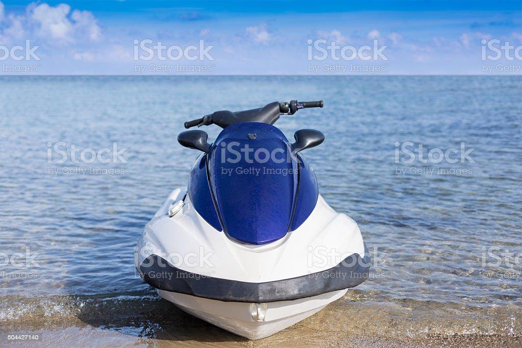 Motor bike near coastline stock photo