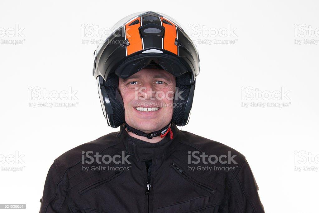 Motor biker isolated on white background, smiling stock photo