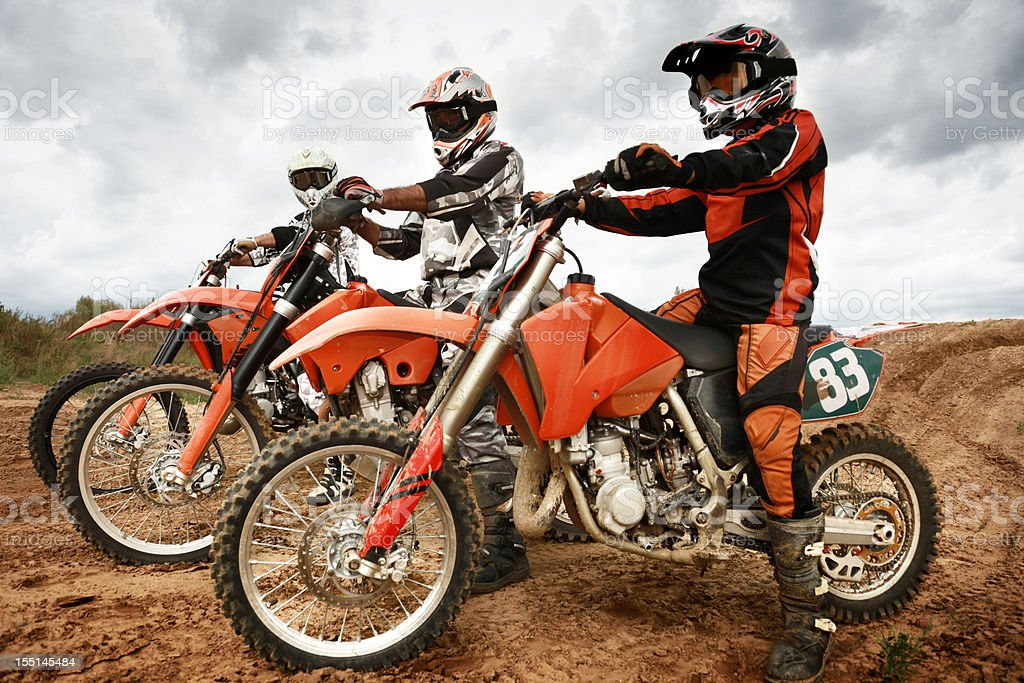Motor bikers riding their machines royalty-free stock photo