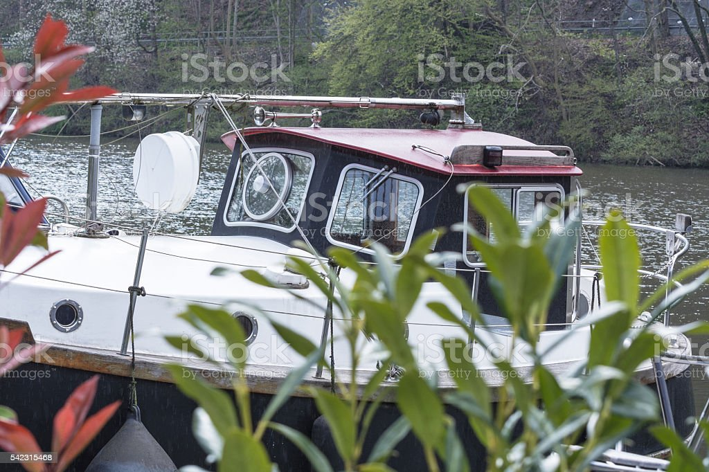 Motor boat in a marina. stock photo