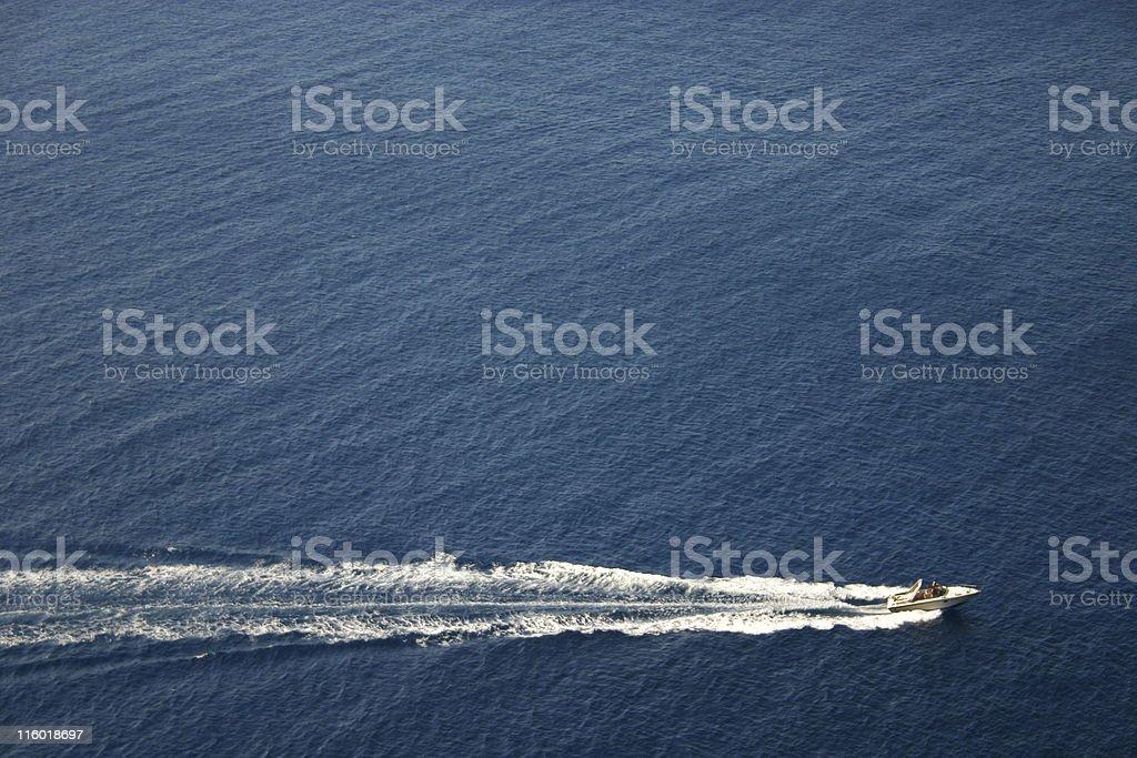 motor boat on blue sea royalty-free stock photo
