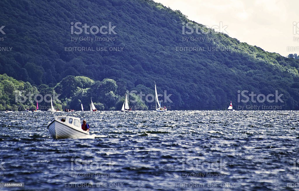Motor boat on Coniston Water royalty-free stock photo