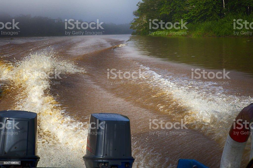 Motor boat on Kinatatangan river stock photo