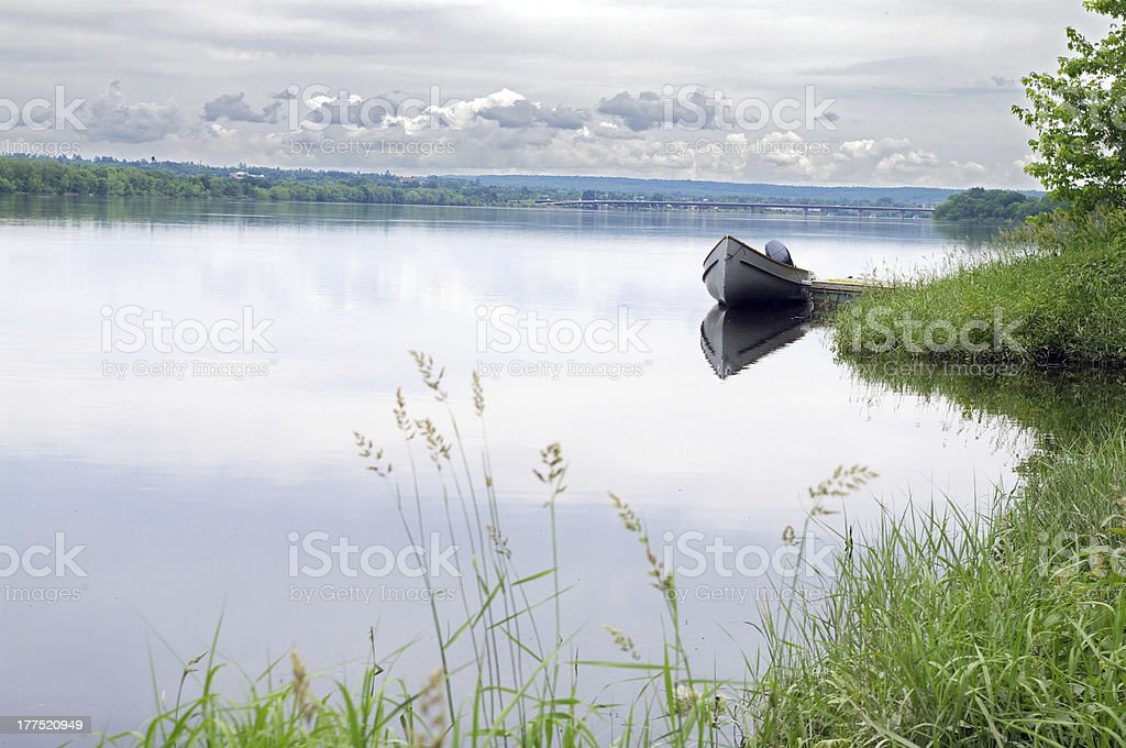 Motor Boat on the River stock photo