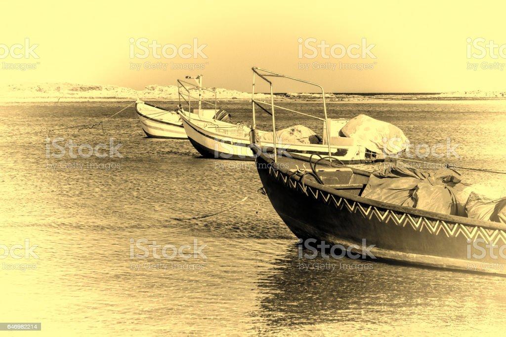 Motor Boats at the Beach stock photo