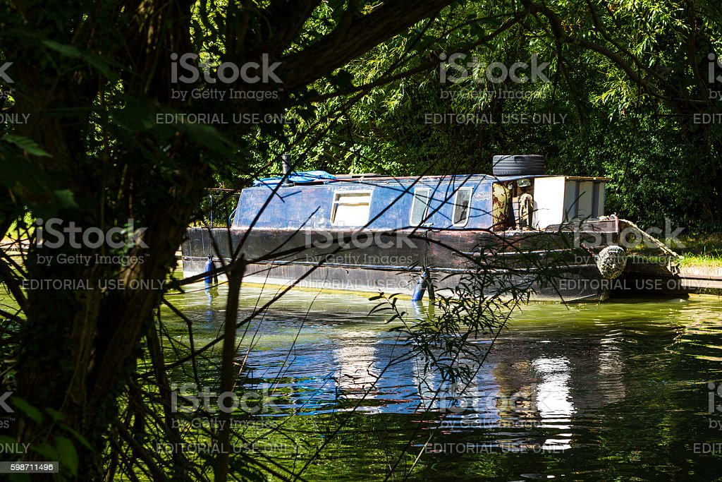 Motor boats parked in Great Linford stock photo