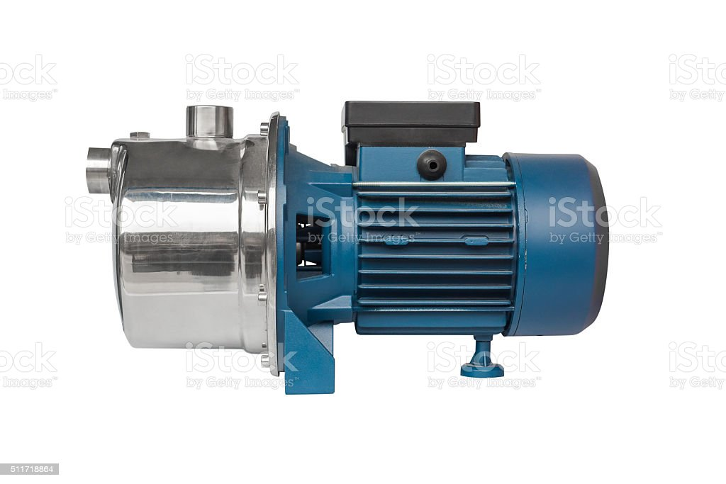 motor for the water pump isolated on a white background stock photo