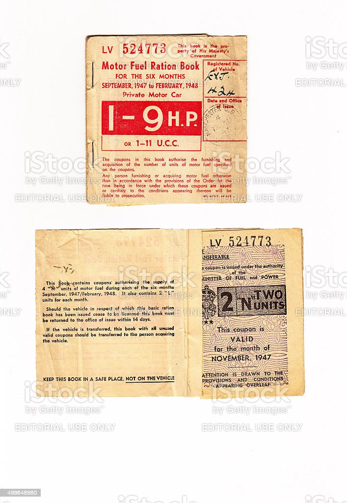 Motor Fuel Ration Book UK stock photo