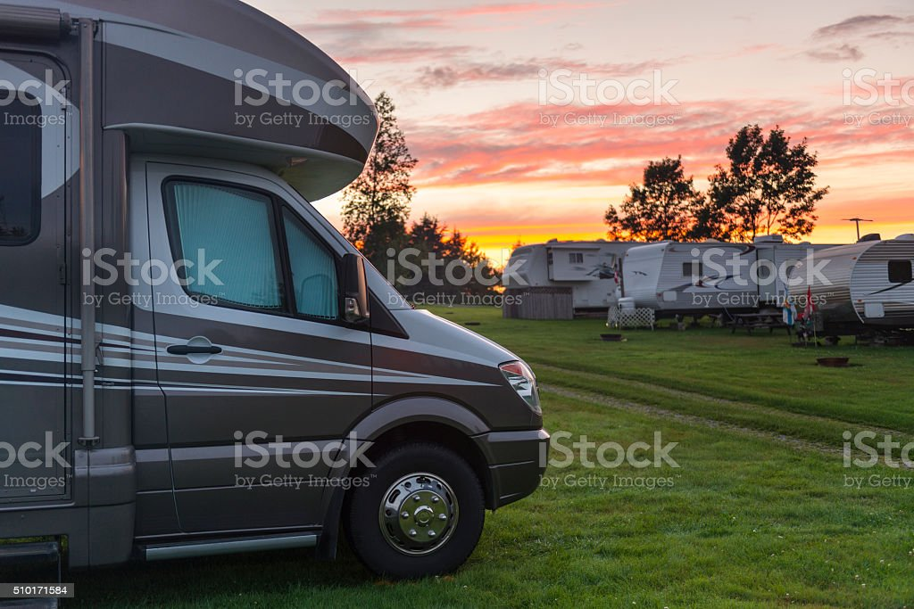 Motor Home at sunset stock photo