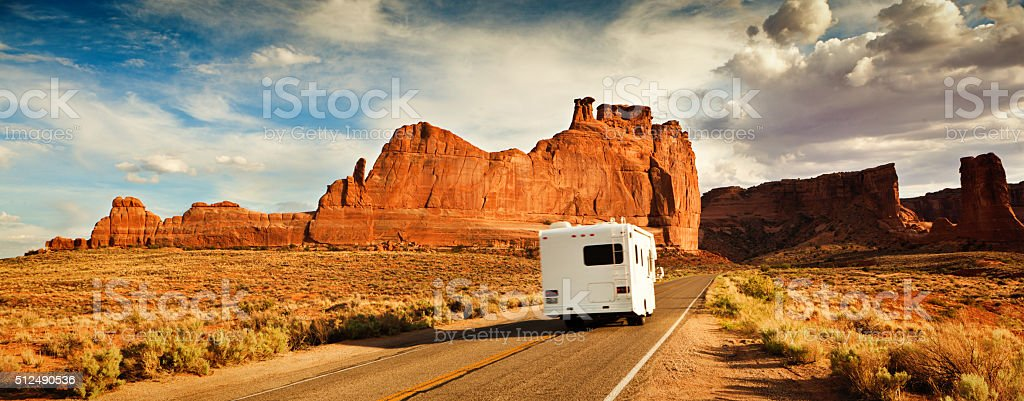 Motor Home Camper Driving and Touring in the American Southwest stock photo