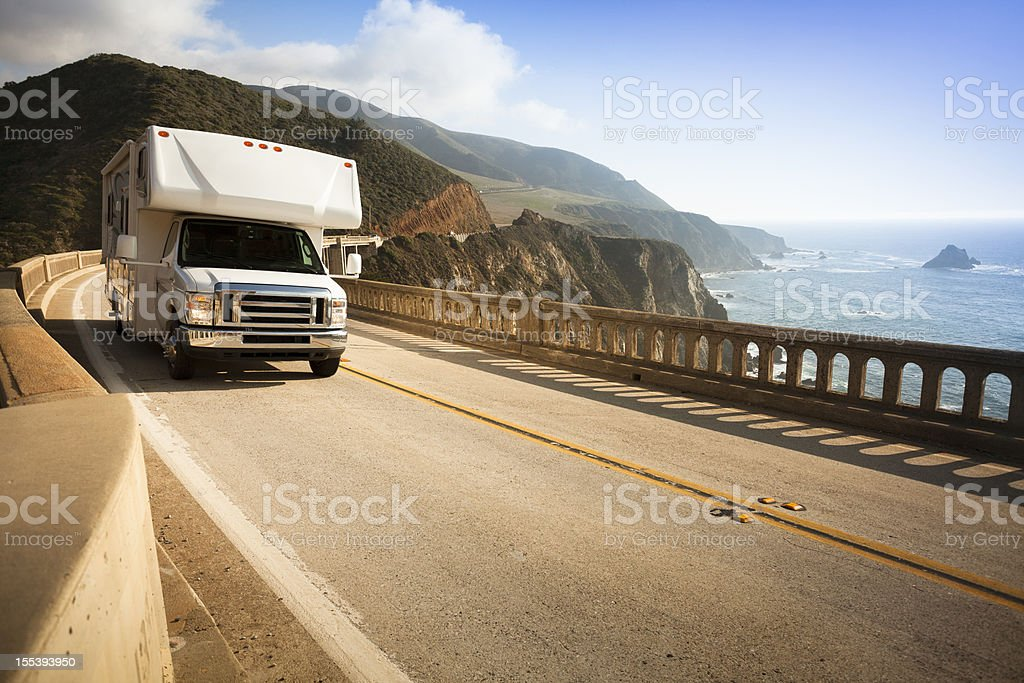 Motor home crossing the Bixby Bridge, Big Sur, California, USA royalty-free stock photo