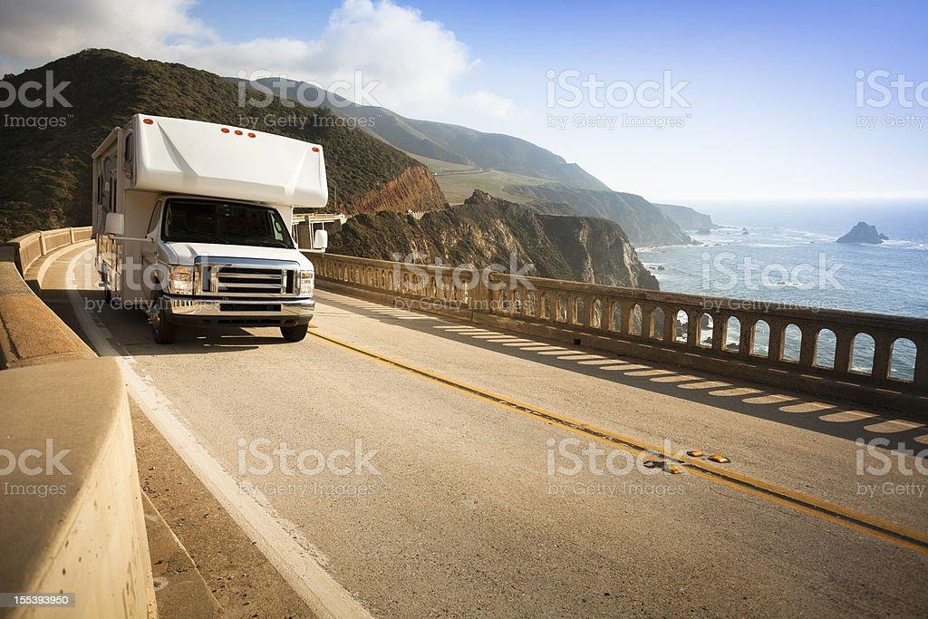 Motor home crossing the Bixby Bridge, Big Sur, California, USA stock photo