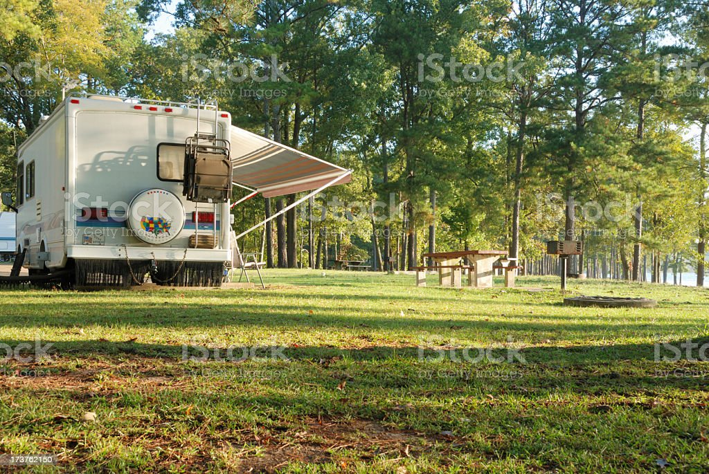 Motor home in a scenic campground royalty-free stock photo