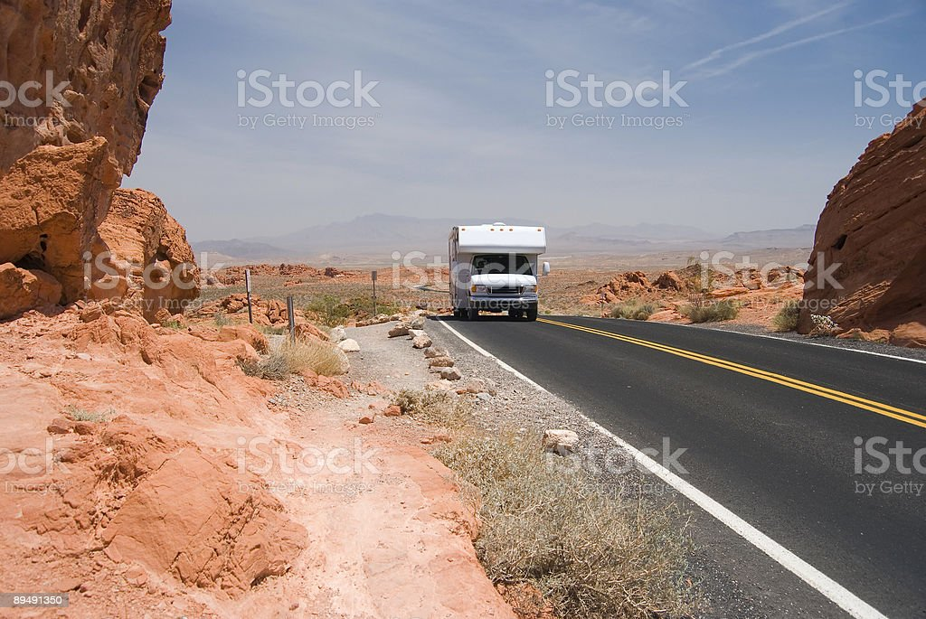 Motor Home in the Desert royalty-free stock photo