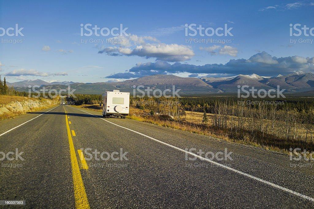 Motor home on Alaska Highway, USA royalty-free stock photo