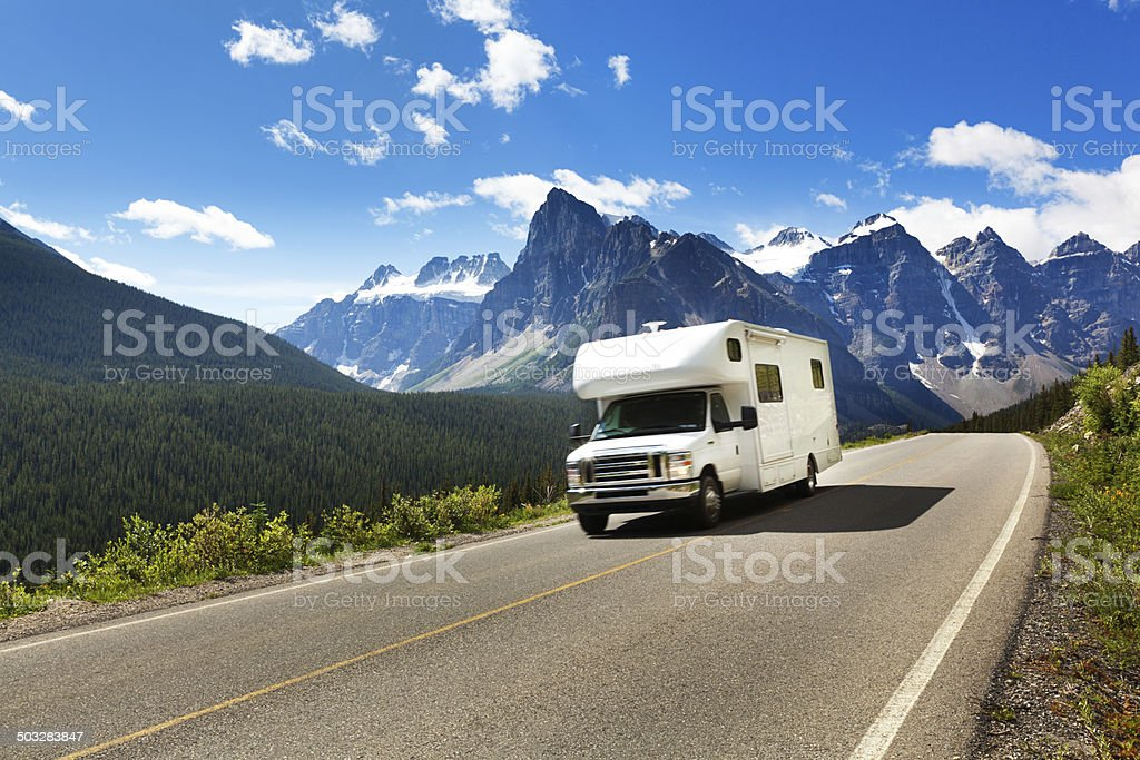 Motor Home on Road Trip Tour, Banff National Park, Canada stock photo