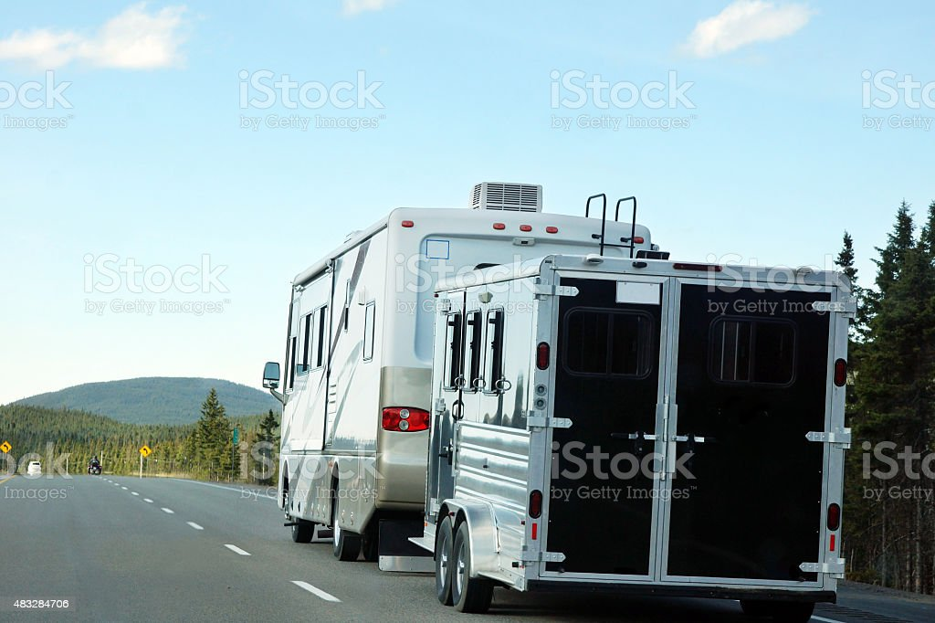 Motor home on the road stock photo