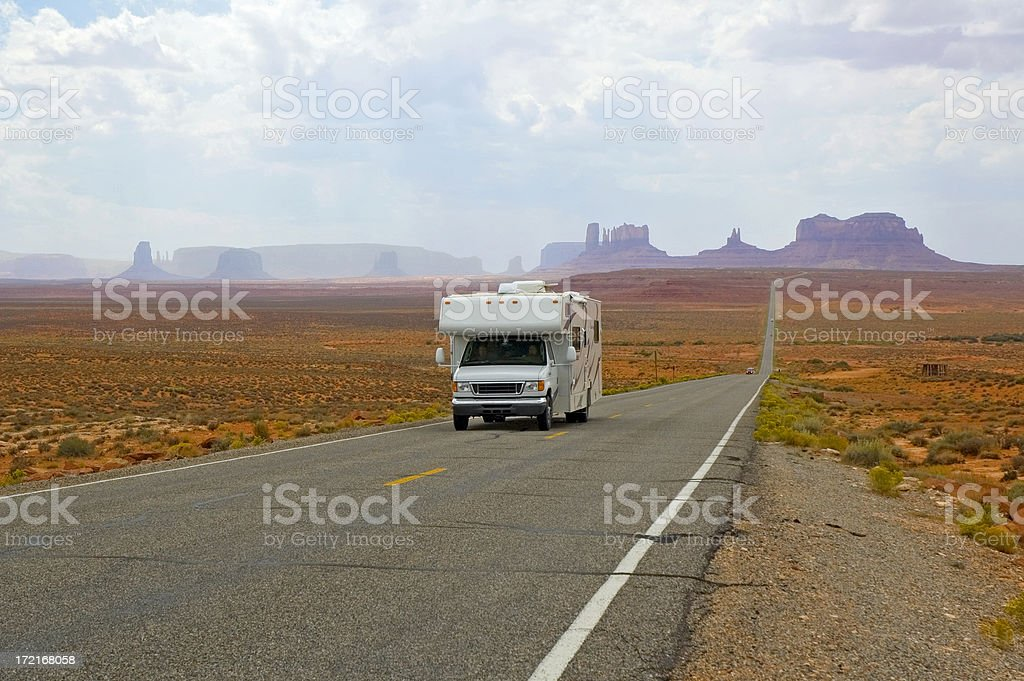 Motor Home RV at Monument Valley in Arizona and Utah royalty-free stock photo