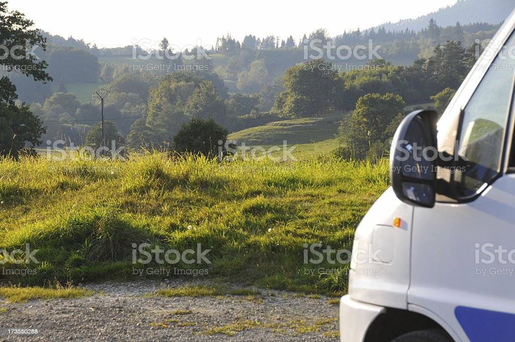 Motor Home standing in beautiful landscape royalty-free stock photo