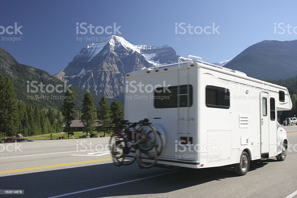 Motor Home vehicule passing in the Canadian Rockies stock photo