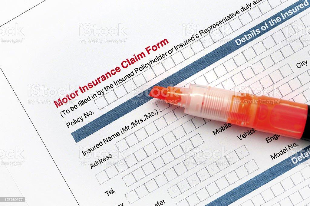 Motor Insurance Claim Form-Insuranced Car Application royalty-free stock photo