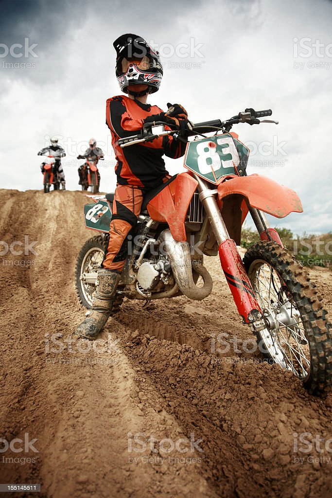 Motor maniac on his machine stock photo