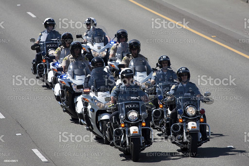 Motor Officers In Motorcade Heading North 6-6-13 stock photo