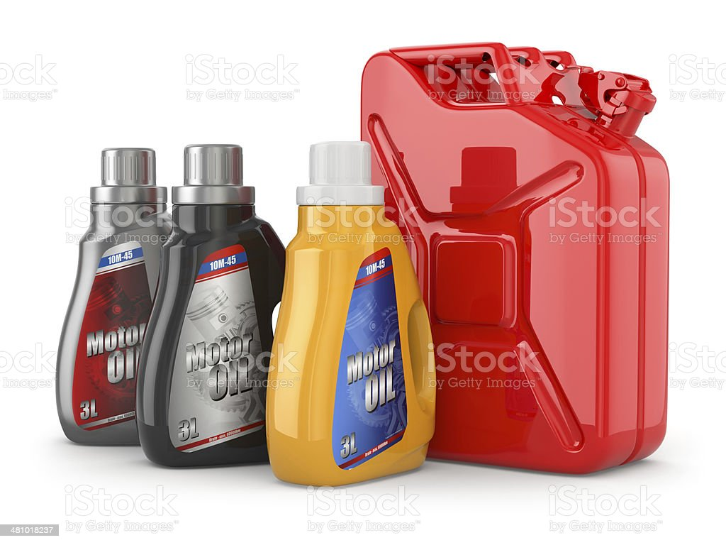 Motor oil canister and jerrycan of petrol or gas. stock photo