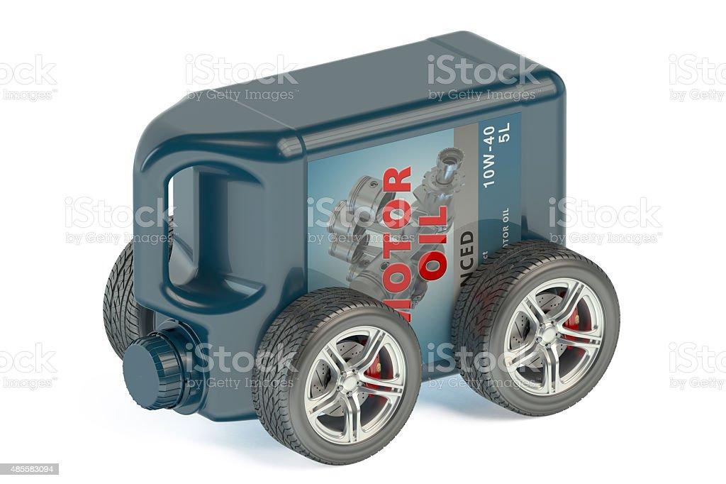 Motor Oil Canister on Wheels stock photo