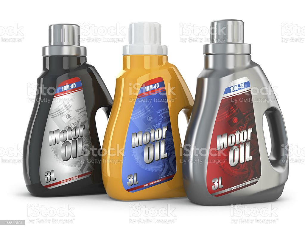Motor oil canister on white isolated background. stock photo