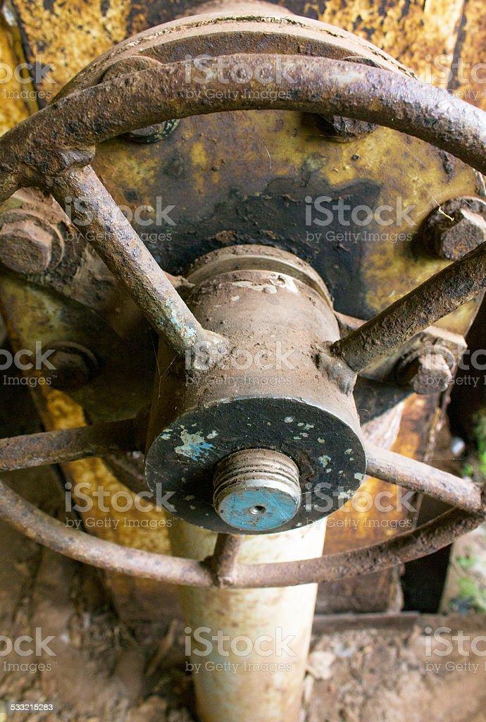 Motor Room Wheel Closeup stock photo