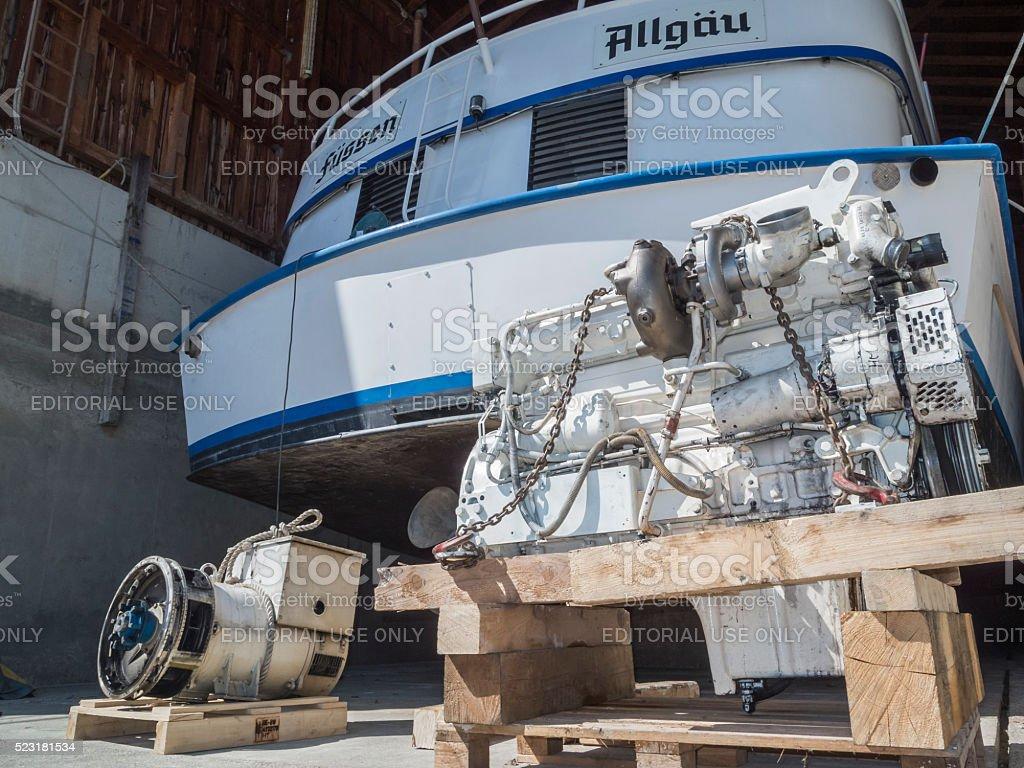 Motor ship with upgraded engine stock photo