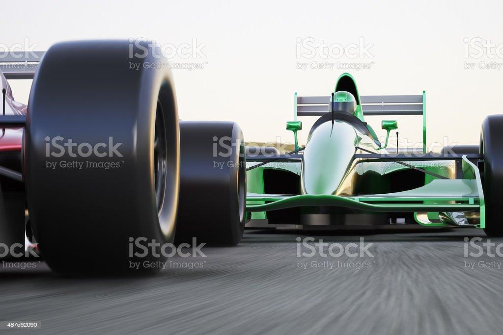 Motor sports race car competitive close quarters racing stock photo