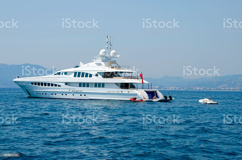 Motor yacht at Cote d'Azur stock photo