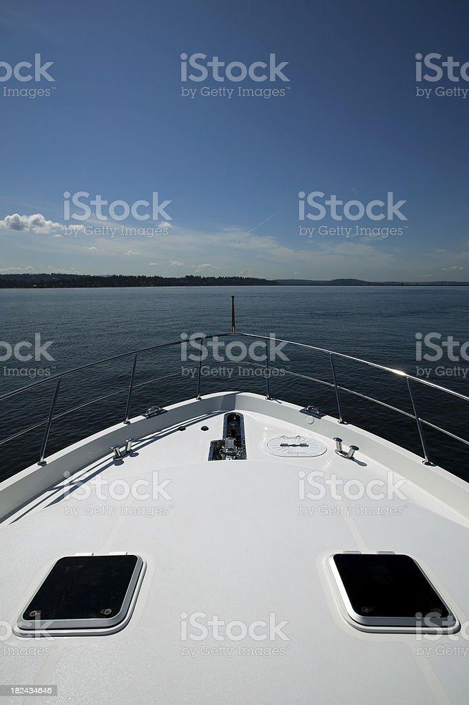 motor yacht bow stock photo