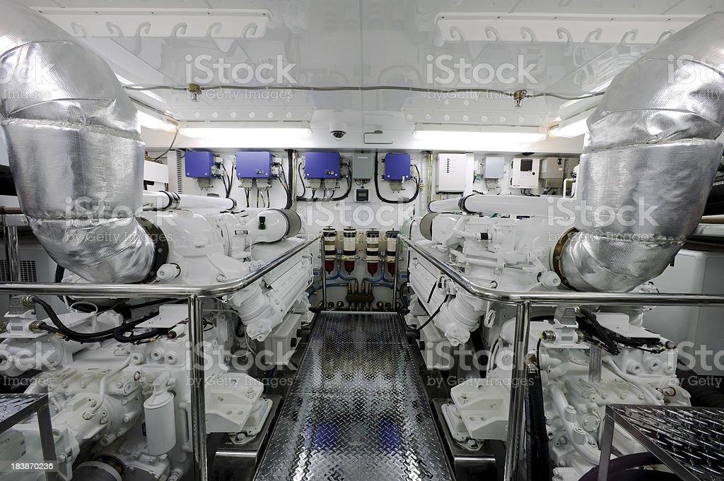 motor yacht engine room stock photo