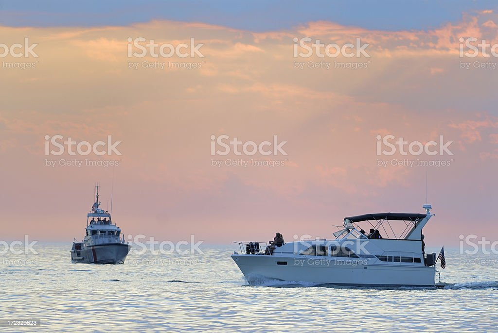 Motor yacht on Lake Michigan royalty-free stock photo