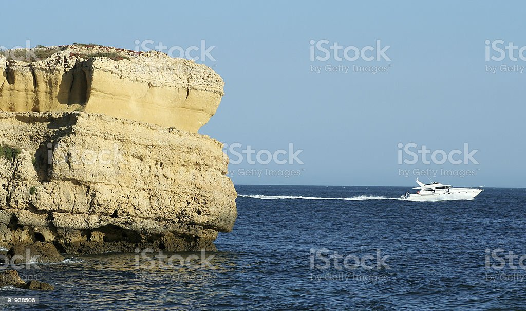 Motor yacht on the sea royalty-free stock photo