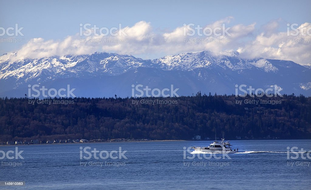 Motor Yacht Puget Sound Edmonds Washington royalty-free stock photo